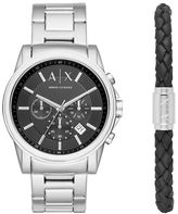 Armani Exchange Outerbanks Stainless Steel H-Bracelet Watch and Leather Bracelet Gift Set
