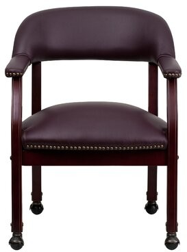 Burgundy LeatherSoft with Accent Nail Trim and Casters Side Chair Charlton Home Casters: With Casters