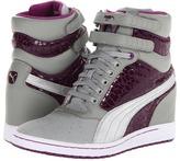 Puma Sky Wedge Shine Wn's (Limestone Grey/Sparkling Grape) - Footwear