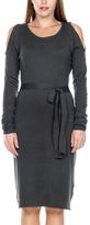 Stanzino Charcoal Open-Shoulder Sheath Dress