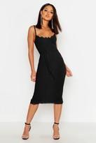boohoo Lace Bustier Trim Tie Belt Midi Dress