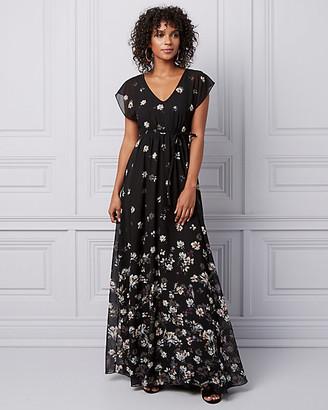 Le Château Floral Chiffon Flutter Sleeve Gown