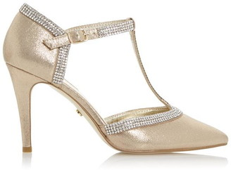Dune London Dilla T-Bar Diamante Pointed Heeled Court Shoes
