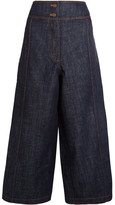 Kenzo Cropped High-rise Wide-leg Jeans - Dark denim