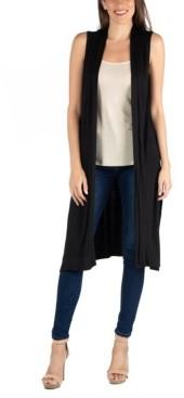 24seven Comfort Apparel Sleeveless Long Cardigan Vest with Side Slit