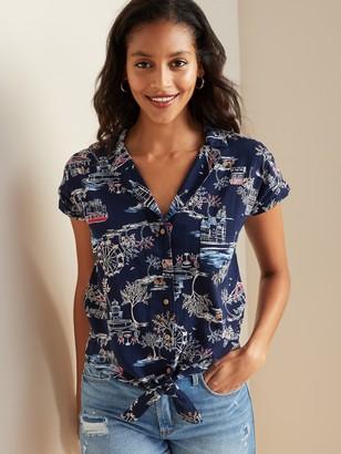 Old Navy Printed Tie-Hem Resort Shirt for Women