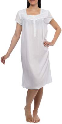 Jasmine Rose Portrait-Neck Lace Embroidered Trim Nightgown