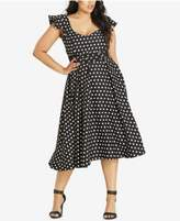 City Chic Trendy Plus Size Polka-Dot Midi Dress