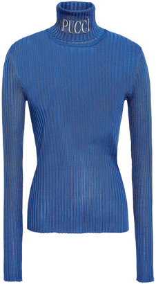 Emilio Pucci Jacquard-trimmed Ribbed-knit Turtleneck Sweater