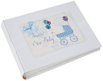 White Cotton Cards New Baby Photo Album, Blue Pram