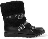 Marc by Marc Jacobs Eyelet-Embellished Leather And Shearling Boots