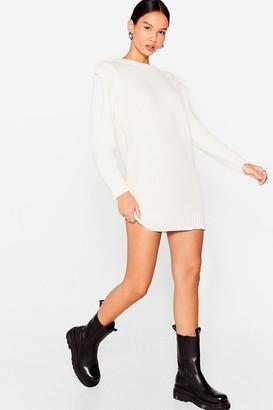 Nasty Gal Womens Let Knit Happen Shoulder Pad Sweater Dress - Ivory