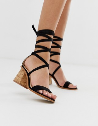Public Desire Vogue black ankle tie cork heeled sandals