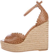 Tabitha Simmons Perforated Leather Wedge Sandals