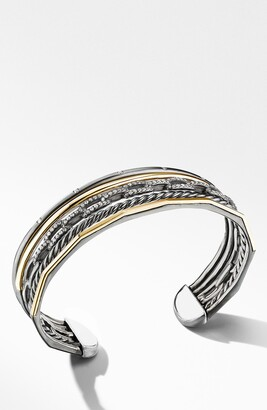 David Yurman Stax Five-Row Blackened Silver & Diamond Cuff