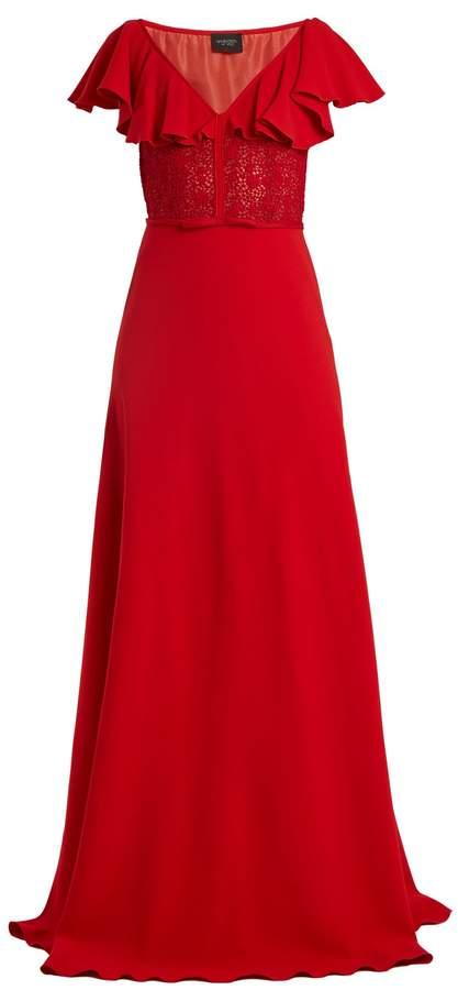 Giambattista Valli Cape-back V-neck crepe-cady gown
