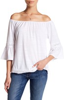 Cable & Gauge Off-the-Shoulder Bell Sleeve Blouse (Petite)
