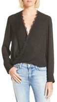 L'Agence Women's Rosario Lace Trim Silk Surplice Blouse