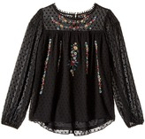 Ella Moss Kera Eyelash Chiffon Top with Embroidery Girl's Clothing