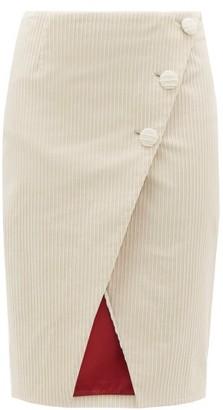 Sara Battaglia Asymmetric Cotton-blend Jumbo-corduroy Wrap Skirt - Womens - Cream