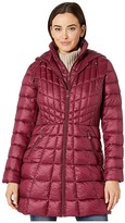 Bernardo Fashions EcoPlume Bib Hooded Walker Puffer Coat (Berry Jam Red) Women's Jacket