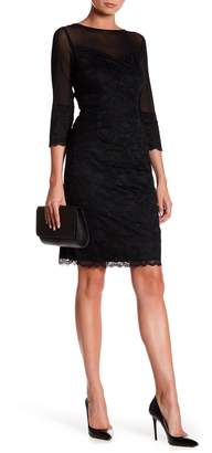 Marina 3/4 Length Sleeve Tiered Lace Sheath Dress