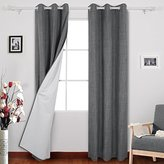 Deconovo Thermal Insulated Blackout Grommet Curtains with Coating Back Layer Window Curtains for Bedroom 38 Inch Wide By 63 Inch Long Dark Grey 2 Panels