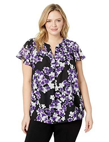 Calvin Klein Women's Plus Size Printed Flutter Sleeve Top