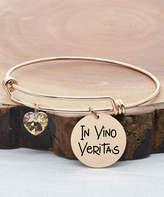 Swarovski Pink Box Women's Bracelets Rose - Rose Goldtone 'In Vino Veritas' Charm Bracelet With Crystals