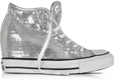 Converse Limited Edition Chuck Taylor All Star Mid Lux Sequins Silver Wedge Sneakers