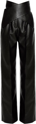ALEKSANDRE AKHALKATSISHVILI Faux-Leather Straight-Leg Wrap Pants