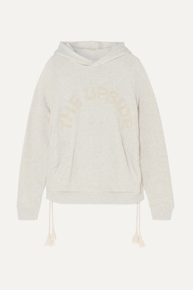 The Upside Phoenix Tasseled Appliqued French Cotton-terry Hoodie - Beige