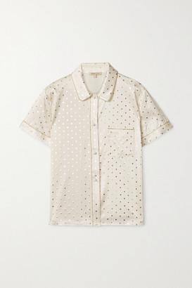 Morgan Lane Tami Metallic-trimmed Printed Silk-blend Satin Pajama Shirt - Ivory