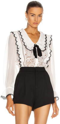 Self-Portrait Cord Lace Collar Bow Shirt in White | FWRD