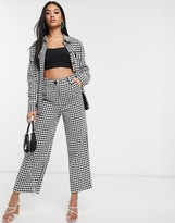 NA-KD Na Kd big dogtooth tailored trousers in black and white