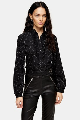 Topshop Black And White Dot Pie Crust Blouse