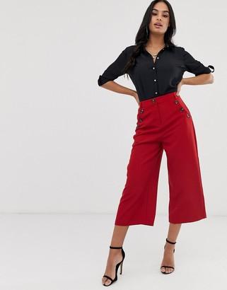 Lipsy button culottes-Red