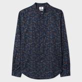 Paul Smith Men's Navy Multi-Colour Paisley Print Band-Collar Shirt