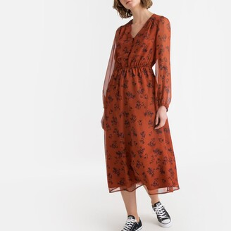 La Redoute Collections Floral Print Boho Midaxi Dress with Long-Sleeves