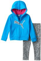 Puma Baby Girl Fleece-Lined Logo Hoodie & Zebra Leggings Set