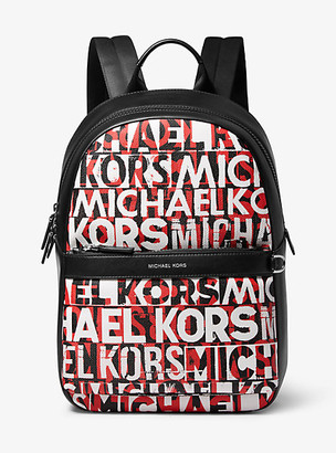 Michael Kors Greyson Graphic Logo Backpack - Blk/rc Rd