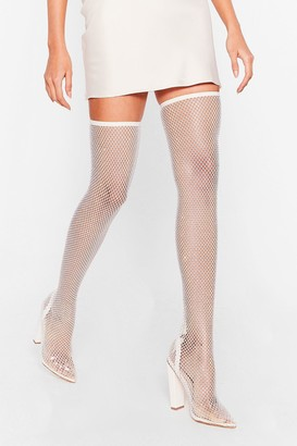 Nasty Gal Womens Break the Ice Over-the-Knee Diamante Boots - White