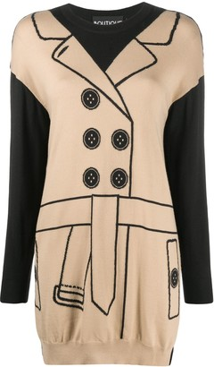 Boutique Moschino Trench Coat Print Jumper Dress