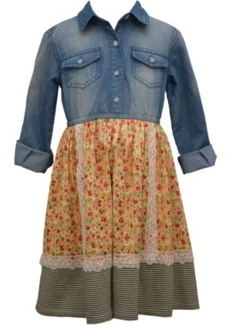 Bonnie Jean Little Girl Long Sleeved Washed Denim Dress With Pebble Crepe Lace Trimmed Skirt