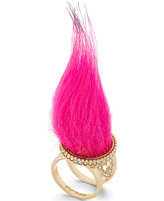 Betsey Johnson xox Trolls Faux-Fur Ring, Only at Macy's