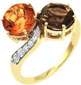 Private Label 14K Yellow Gold 3 1/2ct Citrine & Smokey Quartz with Diamond Ring Size 7