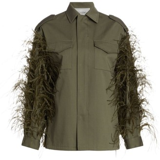 Valentino Ostrich-Feather Utility Jacket