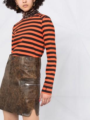 Ganni Washed Leather Mini Skirt