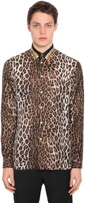 Versace Leopard Print Silk Shirt