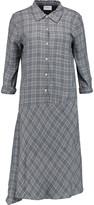 DKNY Asymmetric checked voile dress